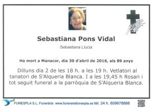 SEBASTIANA PONS VIDAL    30-4-2016