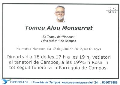 Tomeu Alou Monserrat  17/07/2017