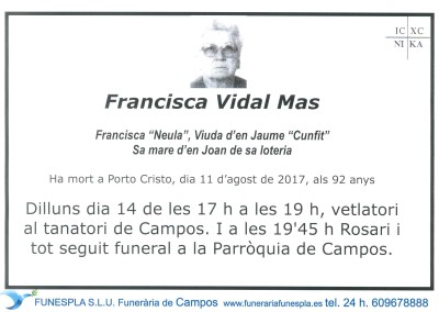 Francisca Vidal Mas   11/08/2017