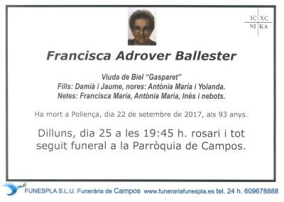 Francisca Adrover Ballester   22/09/2017