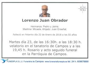 Lorenzo Juan Obrador 22-01-2018