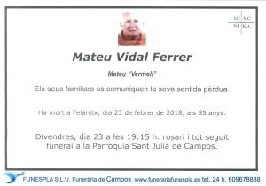 Mateu Vidal Ferrer 23-02-2018