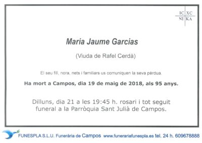 Maria Jaume Garcias  19/05/2018