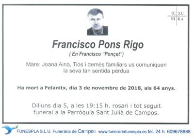 Francisco Pons Rigo 03/11/2018