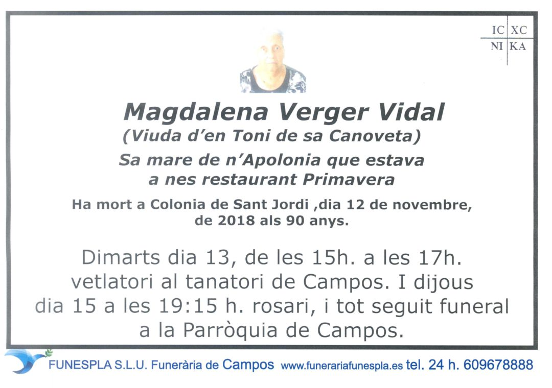 Magdalena Verger Vidal   12/11/2018