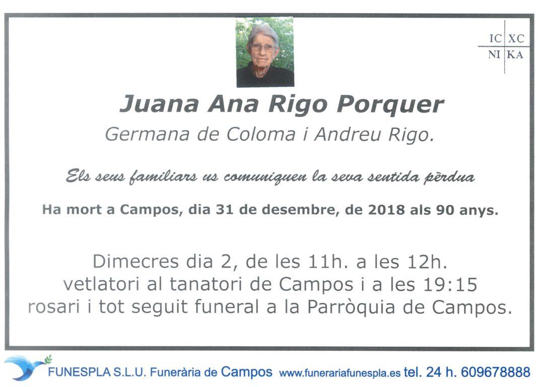Juan Ana Rigo Porquer   31/12/2018