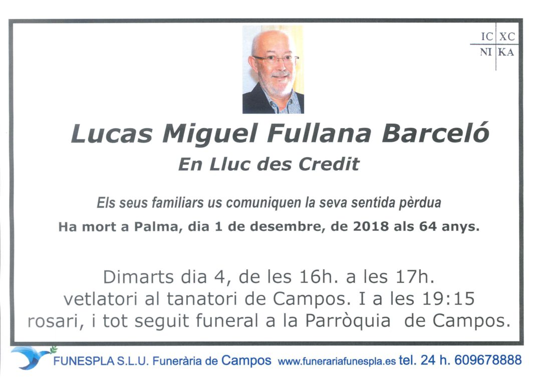 Lucas Miguel Fullana Barceló  01/12/2018
