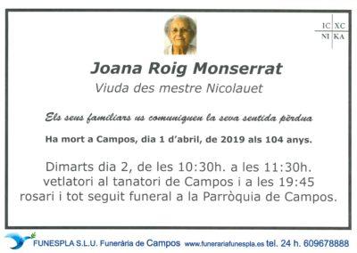 Joana Roig Monserrat  01/04/2019