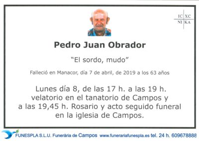 Jaime Juan Obrador   07/04/2019