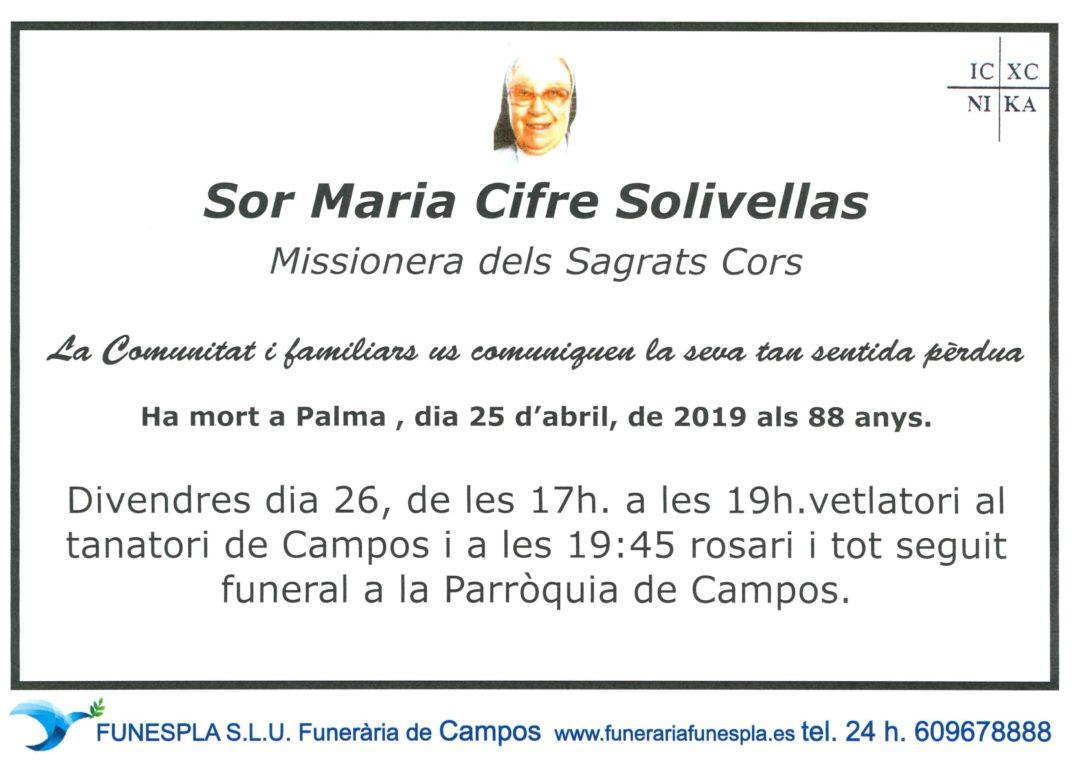 Sor Maria Cifre Solivellas  25/04/2019