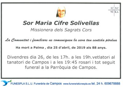 Sor Maria Cifre Solivellas  25/04/2019