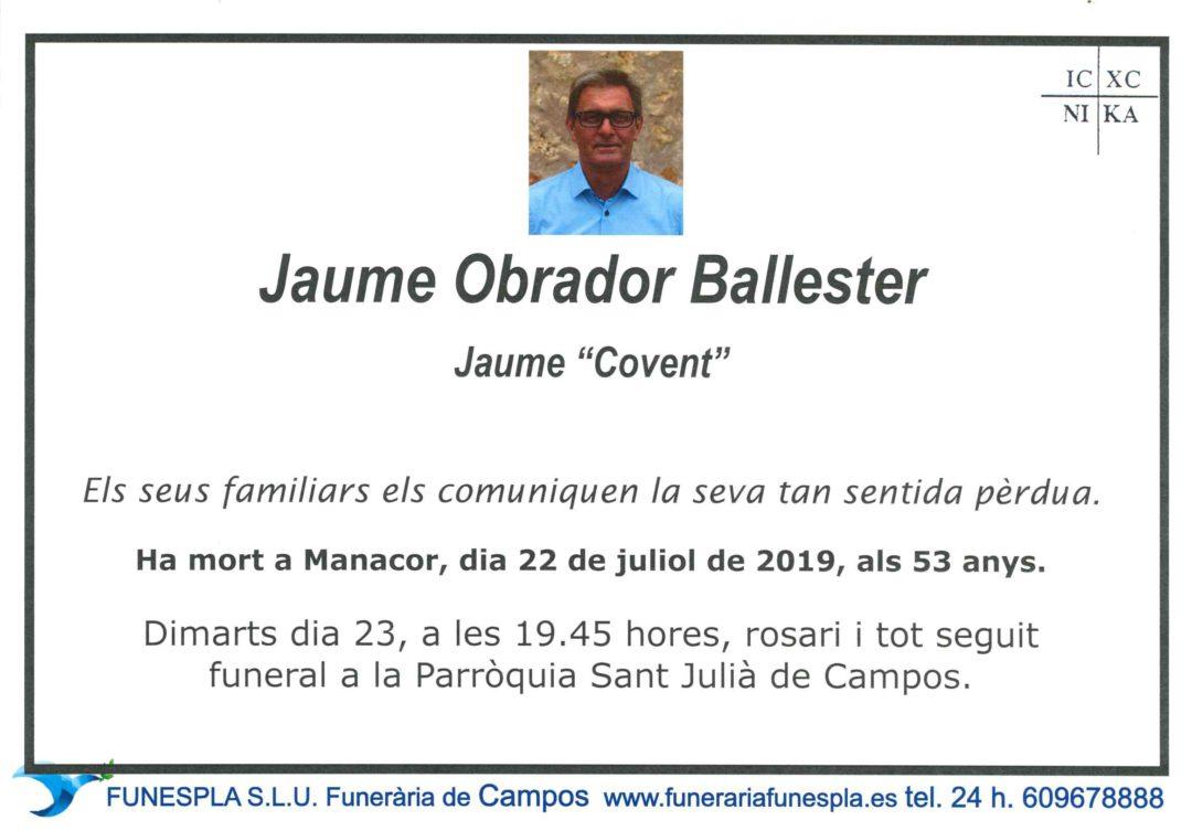 Jaume Obrador Ballester   22/07/2019