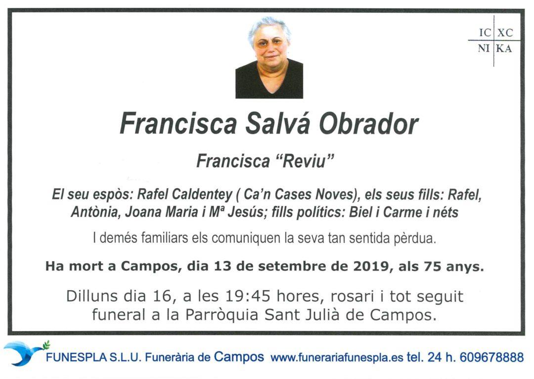 Francisca Salvá Obrador   13/09/2019