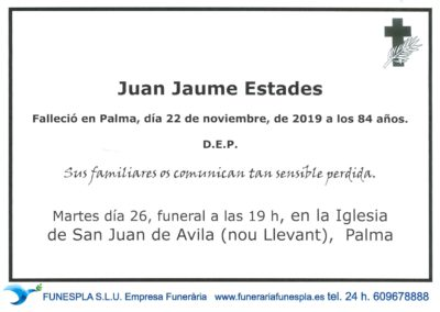 Juan Jaume Estades   22/11/2019