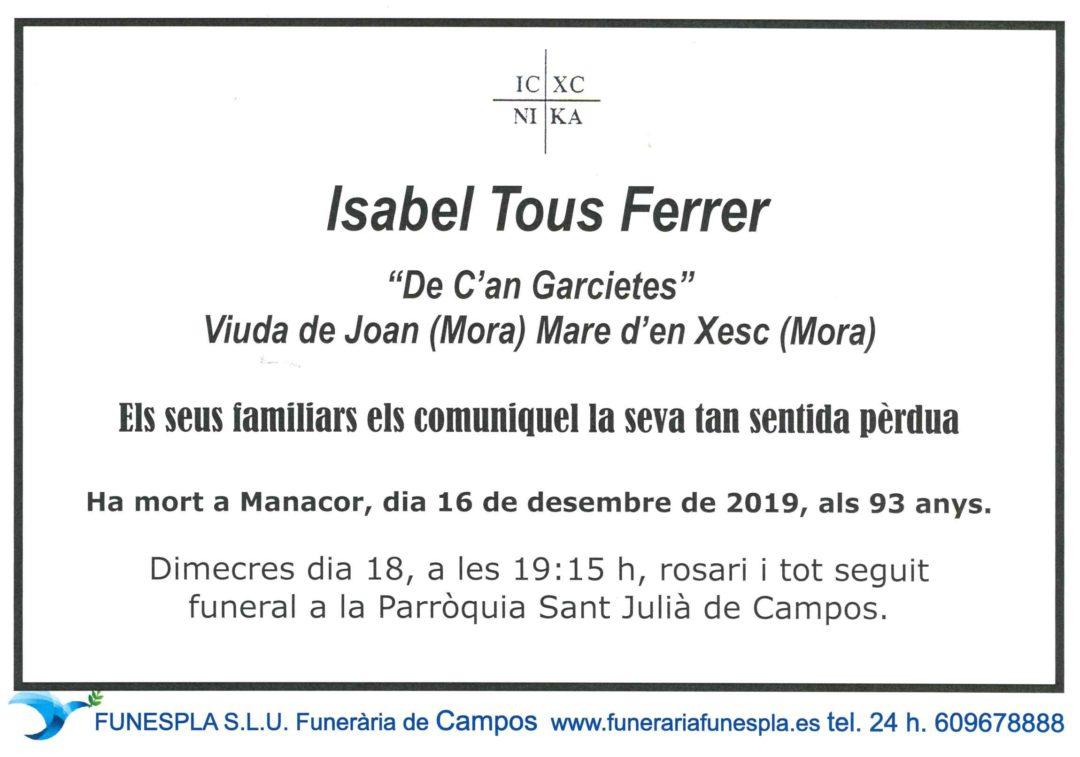 Isabel Tous Ferrer  16-12-2019