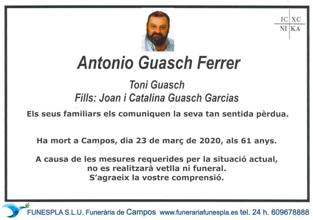 Antonio Guasch Ferrer  23-03-2020