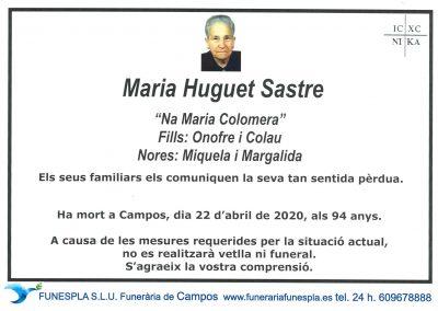 Maria Huguet Sastre 22-04-2020