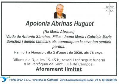 Apolonia Abrinas Huguet  02-08-2020