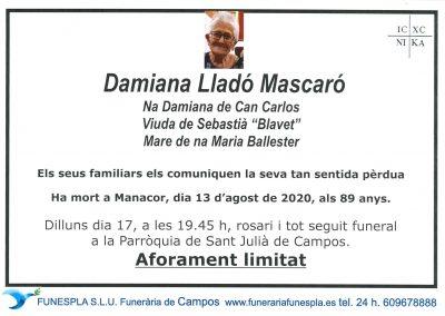 Damiana Lladó Mascaró  13-08-2020