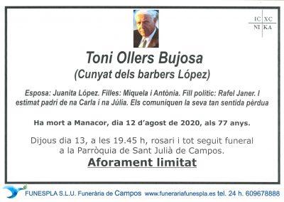 Toni Ollers Bujosa  12-08-2020