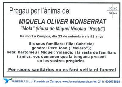 Micaela Oliver Monserrar  23-09-2020