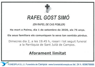 Rafel Gost Simó  01-09-2020