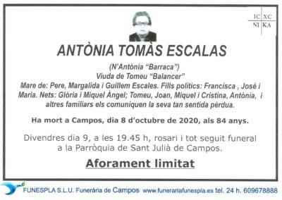 Antònia Tomàs Escalas  08-10-2020