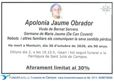 Apolonia Jaume Obrador  30-10-2020