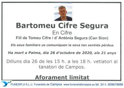 Bartomeu Cifre Segura  26-10-2020