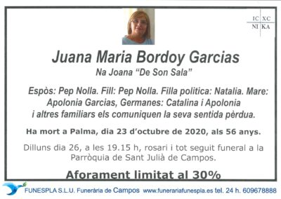 Juana Maria Bordoy Garcias  23-10-2020