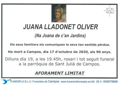 Juana Lladonet Oliver  17-10-2020