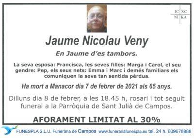 Jaume Nicolau Veny  07-02-2021