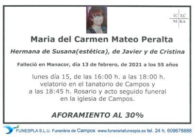 Maria del Carmen Mateo Peralta  13-02-2021