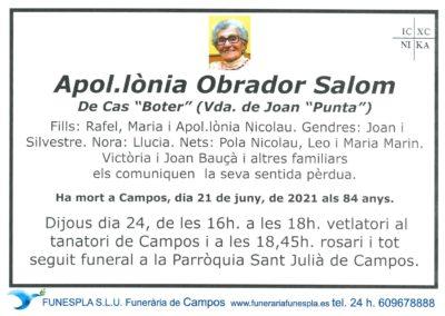 Apol·lònia Obrador Salom 21-06-2021