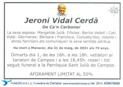 Jeroni Vidal Cerdà 31-05-2021