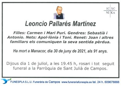 Leoncio Pallarés Martínez 30-06-2021