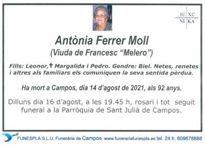 Antònia Ferrer Moll 14-08-2021
